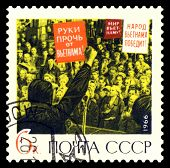 Vintage  Postage Stamp.  Protest Rally.