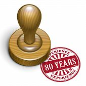 80 Years Experience Grunge Rubber Stamp