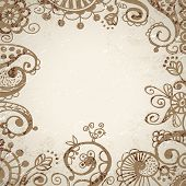 Vintage background hand drawn design elements frame