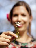 Beautiful Girl Handing Over A Cuckoo Flower In The Spring
