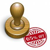 65 Percent Off Grunge Rubber Stamp
