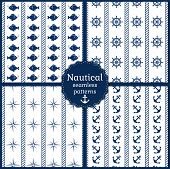Nautical Seamless Patterns. Vector Collection.