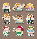 Cartoon Office Worker Tea Time Stickers