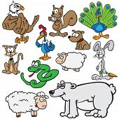 animals cartoon illustration set