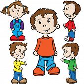 smiling kids cartoon illustration