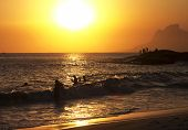 Silhouettes - young swimmers - beach - fishing in stone - beautiful sunsets - Camboinhas Beach - Rio