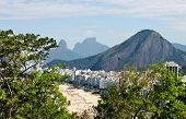 Panoramic of Copacabana - vegetation, beach, buildings, communities and beautiful mountains - the ci