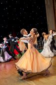 MOSCOW - MARCH 16: Unidentified children age 10-14 compete in waltz dance on the Artistic Dance Euro