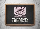 News concept: Computer Pc and News on chalkboard background