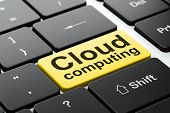 Cloud computing concept: Cloud Computing on computer keyboard background