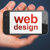 SEO web design concept: Web Design on smartphone