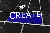 The word create and rocket ship against black keyboard with blue key