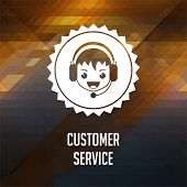 Customer Service on Triangle Background.