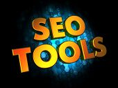 Seo Tools Concept on Digital Background.