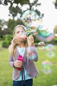 Cute young girl blowing soap bubbles at the park