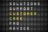 Customer care buzzwords on digitally generated black mechanical board