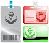 health in hands. Id cards. Raster illustration.