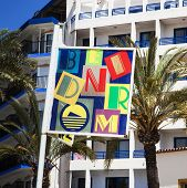 Benidorm, Costa Blanca, Spain - April 9th 2014: Colorful Pr Sign For Benidorm, Taken April 9th 2014