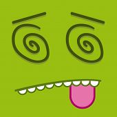 foto of dizzy  - A Vector Cute Cartoon Green Dizzy Face - JPG