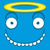 picture of blue angels  - A Vector Cute Cartoon Blue Angel Face - JPG