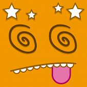 image of dizziness  - A Vector Cute Cartoon Orange Dizzy Face - JPG