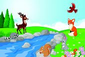 Nature landscape background with wild animals cartoon