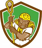Gorilla Lacrosse Player Shield Cartoon
