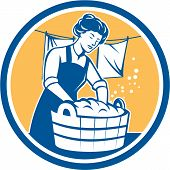 Housewife Washing Laundry Vintage Circle