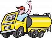 Tanker Truck Driver Waving Cartoon