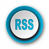 rss blue modern web icon on white background