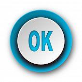 ok blue modern web icon on white background
