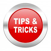 tips tricks red circle chrome web icon isolated