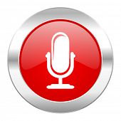 microphone red circle chrome web icon isolated
