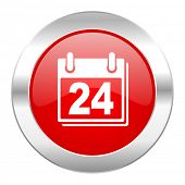 calendar red circle chrome web icon isolated