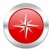 compass red circle chrome web icon isolated
