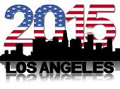 Los Angeles skyline 2015 flag text vector illustration