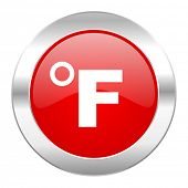 fahrenheit red circle chrome web icon isolated