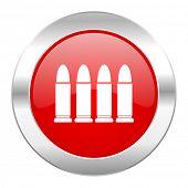 ammunition red circle chrome web icon isolated