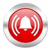 alarm red circle chrome web icon isolated