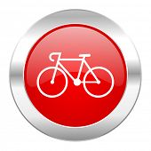 bicycle red circle chrome web icon isolated