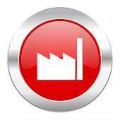 factory red circle chrome web icon isolated