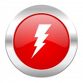 bolt red circle chrome web icon isolated