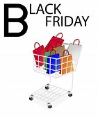 Shopping Bags in Black Friday Shopping Cart