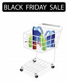 Engine Oil Packaging in Black Friday Shopping Cart