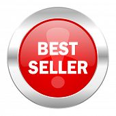 best seller red circle chrome web icon isolated