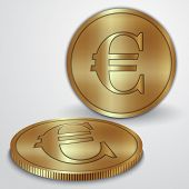Vector illustration of gold coins with euro currency sign