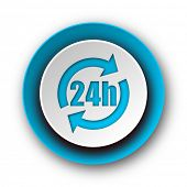 24h blue modern web icon on white background