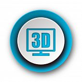 3d display blue modern web icon on white background