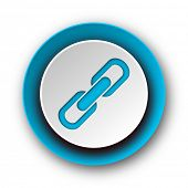 link blue modern web icon on white background