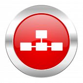 database red circle chrome web icon isolated